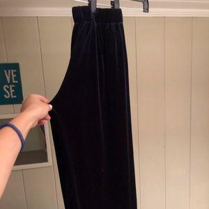 Navy Blue Velvet Dress Pants
